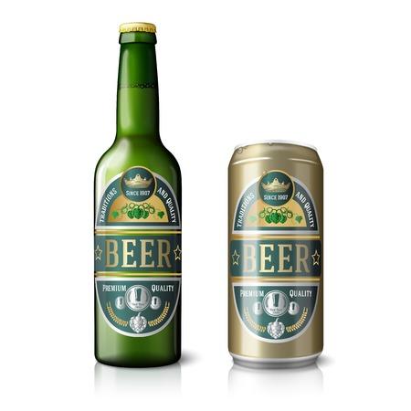 Illustration pour Green beer bottle and golden can, with labels. - image libre de droit