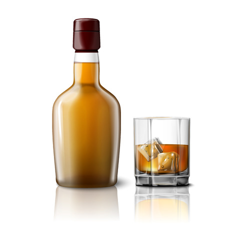 Blank realistic whiskey bottle with glass of whiskey and ice