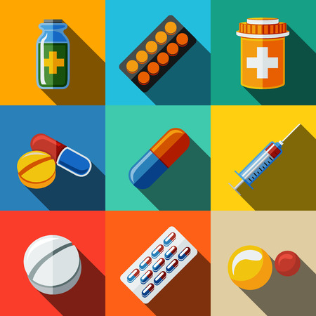 Medicine, drugs flat icons set with long shadow - pillsbox and tablets, pill, blister, vitamins, syringe, liquid medicine.