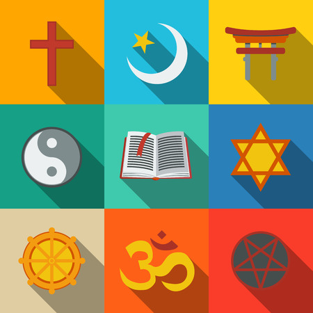 Illustration pour World religion symbols flat set with - christian and Jewish, Islam, Buddhism, Hinduism, Taoism, Shinto, pentagram, and book as symbol of doctrine. - image libre de droit
