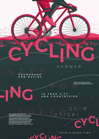 Illustration pour Vector typographic cycling poster template, with bycicle, grunge textures, and place for your texts. - image libre de droit