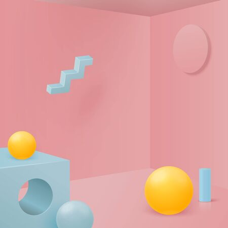 Ilustración de Vector 3d realistic corner wall abstract scene with geometric shapes, for product presentations. Pink, blue and yellow soft pastel colors. - Imagen libre de derechos