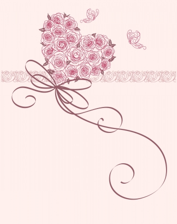 Foto de cute card with heart of roses - Imagen libre de derechos