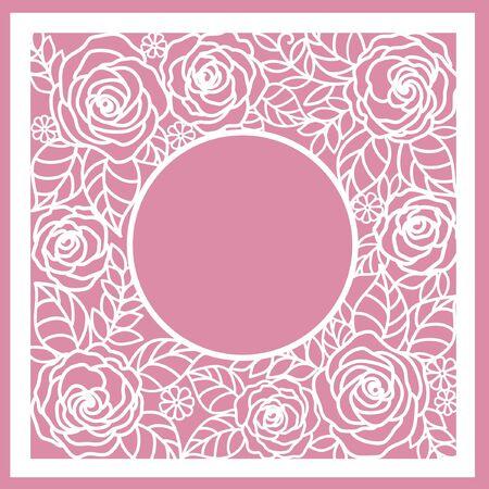 Illustration pour greeting floral card with roses. (laser cute) - image libre de droit