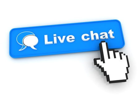Photo for Live Chat Button with  Hand Shaped mouse Cursor - Royalty Free Image