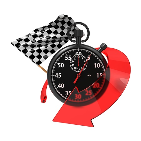 Checkered Flag with Stopwatch and Arrow  Start - Finish Concept