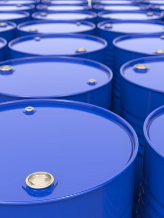 Industrial Background with Blue Barrels