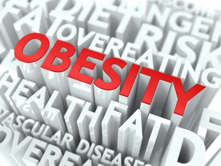 Obesity Concept  The Word of Red Color Located over Text of White Color