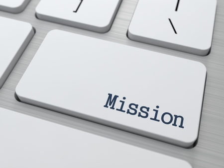 Mission Concept  Button on Modern Computer Keyboard with Word Partners on It