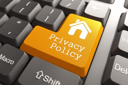 Orange Privacy Policy Button with Home Icon on Computer Keyboard. Internet Concept. 3D render.