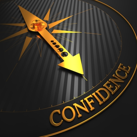 Confidence - Business Background. Golden Compass Needle on a Black Field Pointing to the Word Confidence. 3D Render.