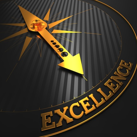Excellence - Business Background. Golden Compass Needle on a Black Field Pointing to the Word Excellence. 3D Render.
