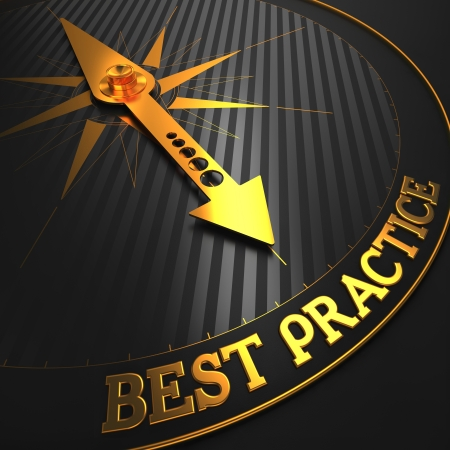 Best Practice - Business Background. Golden Compass Needle on a Black Field Pointing to the Word Best Practice. 3D Render.