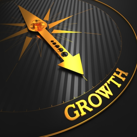 Growth - Business Background. Golden Compass Needle on a Black Field Pointing to the Word Growth. 3D Render.