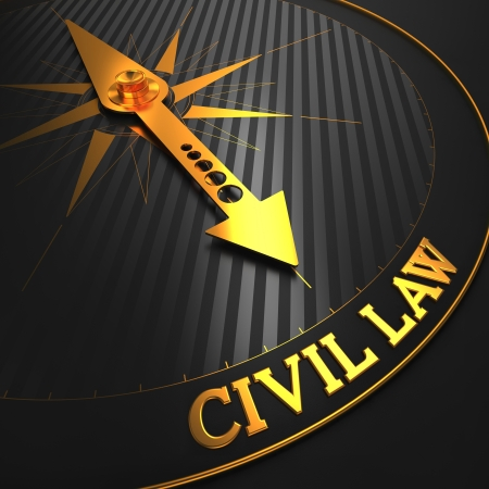 Civil Law - Business Background. Golden Compass Needle on a Black Field Pointing to the Word Civil Law. 3D Render.