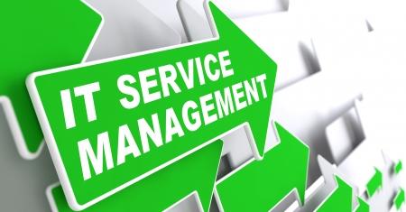 Service Management - IT Concept. Green Arrow with IT Service  Management Slogan on a Grey Background. 3D Render.