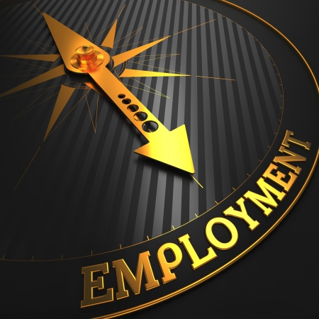 Employment - Business Concept  Golden Compass Needle on a Black Field Pointing to the Word  Employment   3D Render