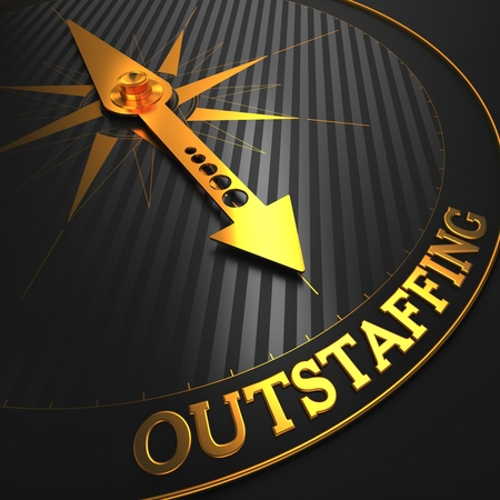 Outstaffing - Business Concept  Golden Compass Needle on a Black Field Pointing to the Word  Outstaffing   3D Render