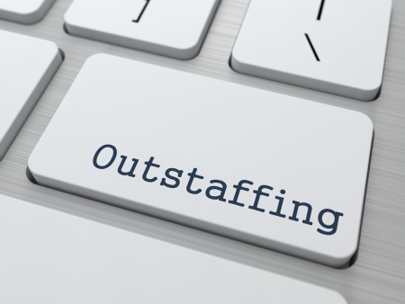 Outstaffing. Button on Modern Computer Keyboard. Business Concept. 3D Render.