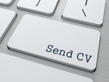 Send CV. Button on Modern Computer Keyboard. Business Concept. 3D Render.