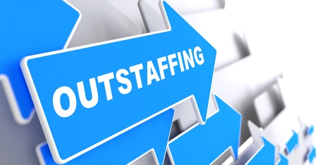Outstaffing - Business Background  Blue Arrow with  Outstaffing  Slogan on a Grey Background  3D Render