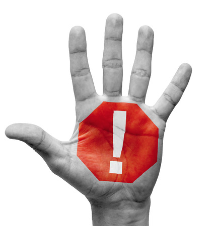 Exclamation Mark - Raised Hand with Stop Sign on the Painted Palm - Isolated on White Background.