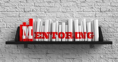 Mentoring - Red Inscription on the Books on Shelf on the White Brick Wall Background. Education Concept.
