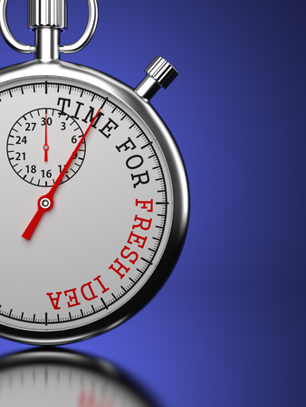 Idea Concept. Stopwatch with Time For Fresh Idea slogan on a blue background.