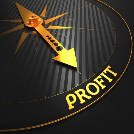 Profit - Golden Compass Needle on a Black Field Pointing. Business Concept.