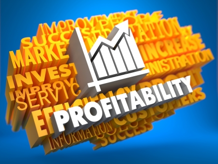 Profitability with Growth Chart Icon on Yellow WordCloud on Blue Background.