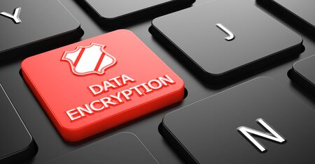 Photo pour Data Encryption with Shield Icon on Red Button on Black Computer Keyboard. - image libre de droit