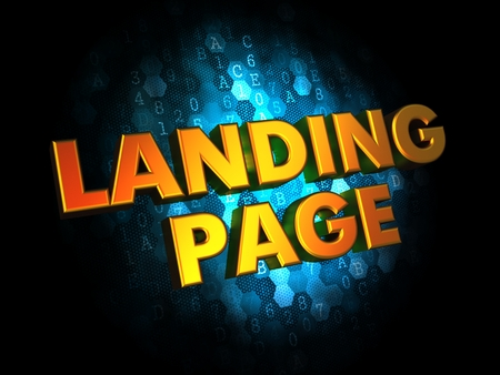 Landing Page Concept - Golden Color Text on Dark Blue Digital Background.