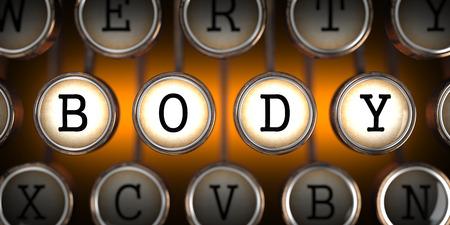 Body on Old Typewriter's Keys on Orange Background.
