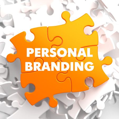 Personal Branding on Orange Puzzle on White Background.