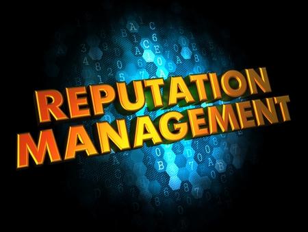Reputation Management Concept - Golden Color Text on Dark Blue Digital Background.