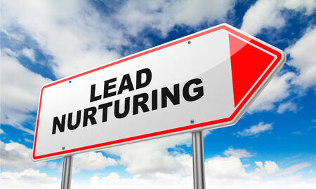 Lead Nurturing - Inscription on Red Road Sign on Sky Background.