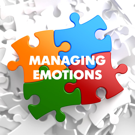 Managing Emotions  on Multicolor Puzzle on White Background.