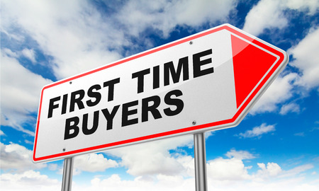 First Time Buyers - Inscription on Red Road Sign on Sky Background.