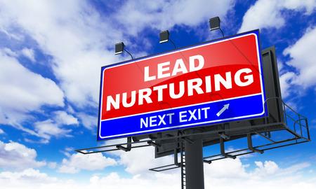 Lead Nurturing - Red Billboard on Sky Background. Business Concept.