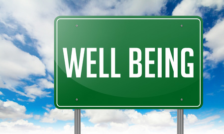 Photo pour Highway Signpost with Well Being wording on Sky Background. - image libre de droit