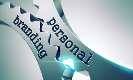 Personal Branding on the Mechanism of Metal Cogwheels.