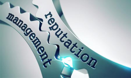 Foto de Reputation Management Concept on the Mechanism of Metal Cogwheels. - Imagen libre de derechos
