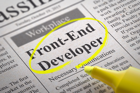 Front-End Developer Vacancy in Newspaper. Job Search Concept.