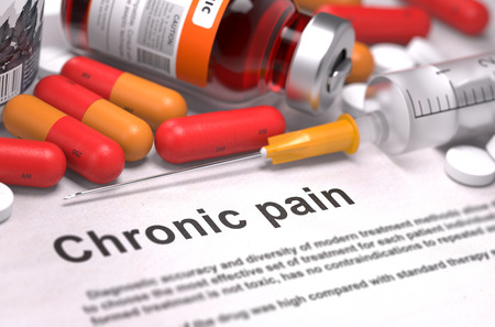 Chronic Pain - Printed Diagnosis with Red Pills, Injections and Syringe. Medical Concept with Selective Focus.
