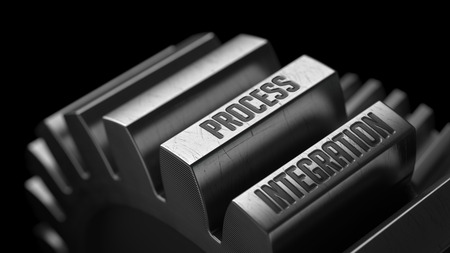 Process Integration on the Metal Gears on Black Background.