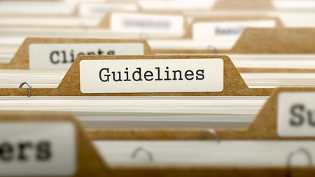 Guidelines Concept. Word on Folder Register of Card Index. Selective Focus.