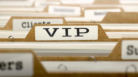 VIP Concept. Word on Folder Register of Card Index. Selective Focus.