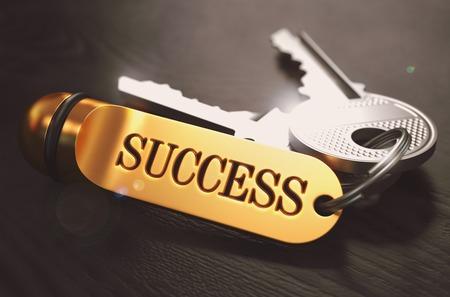 Foto de Keys to Success - Concept on Golden Keychain over Black Wooden Background. Closeup View, Selective Focus, 3D Render. Toned Image. - Imagen libre de derechos