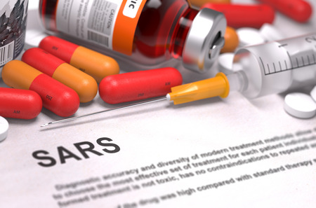 SARS - Printed Diagnosis with Red Pills, Injections and Syringe. Medical Concept with Selective Focus.