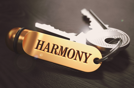 Keys with Word Harmony on Golden Label over Black Wooden Background. Closeup View, Selective Focus, 3D Render. Toned Image.